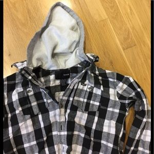 Hurley black white flannel shirt with hoody sz L